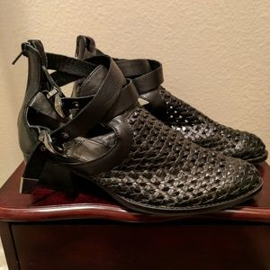 Leather woven booties